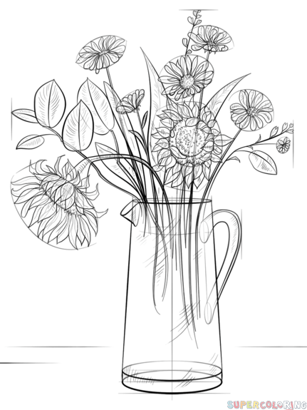 431x575 How To Draw A Bouquet Of Flowers Step By Step Drawing Tutorials