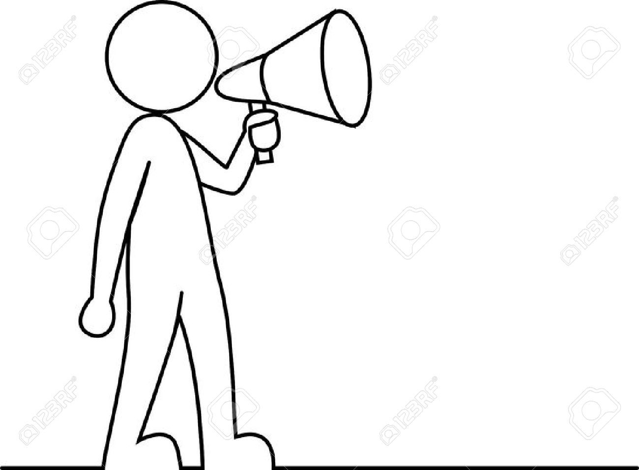 1300x956 Simple Drawing Of Person Simple Person With Megaphone Royalty Free