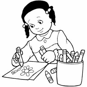 300x300 Girl Drawing Flower Coloring Page