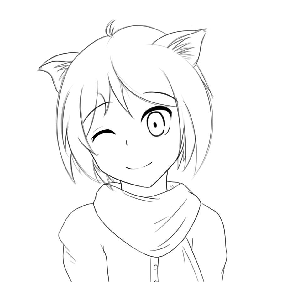 900x900 Anime Cat Girl Drawing Drawn Anime Cat