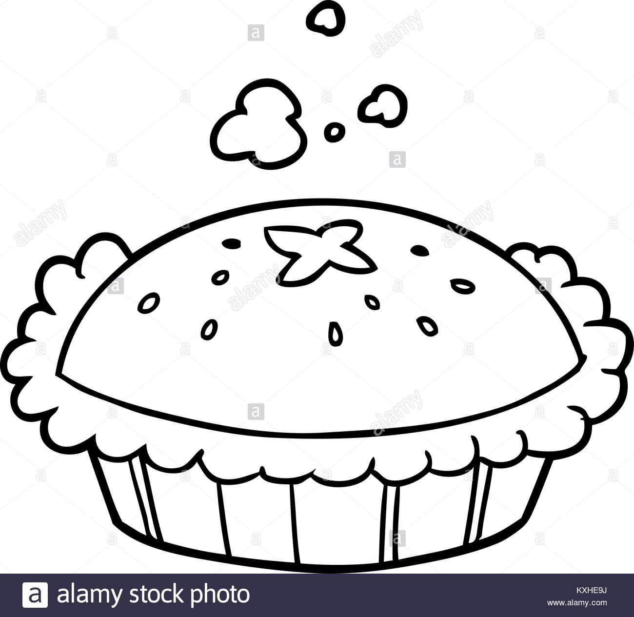 1300x1265 Hot Line Drawing Of A Pie Fresh Out Of The Oven Stock Vector Art
