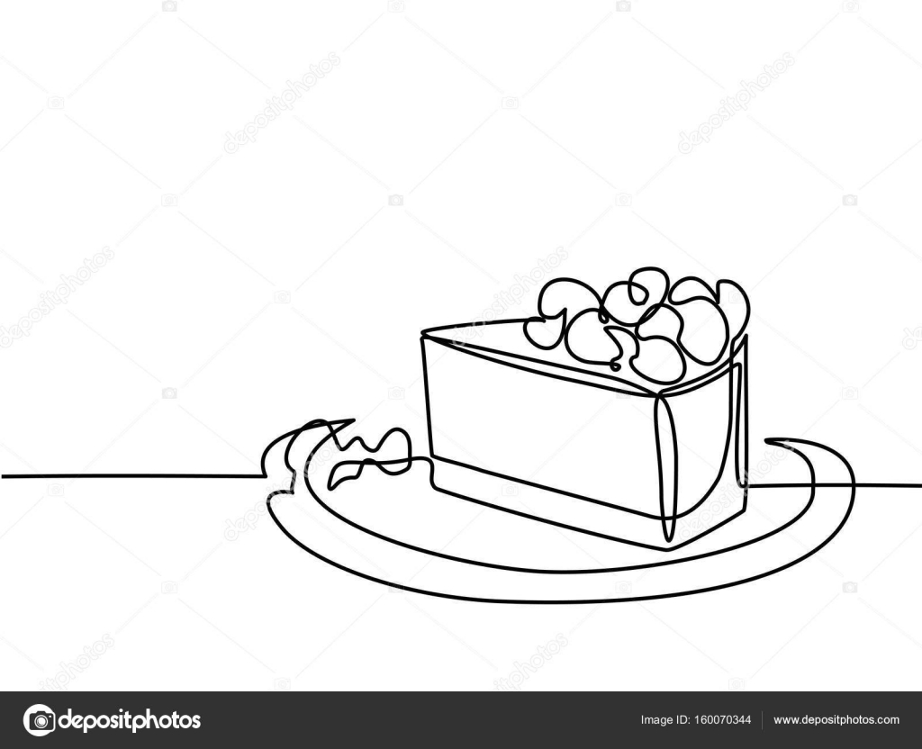 1024x832 Continuous Line Drawing Of Piece Cake Stock Vector Valenty