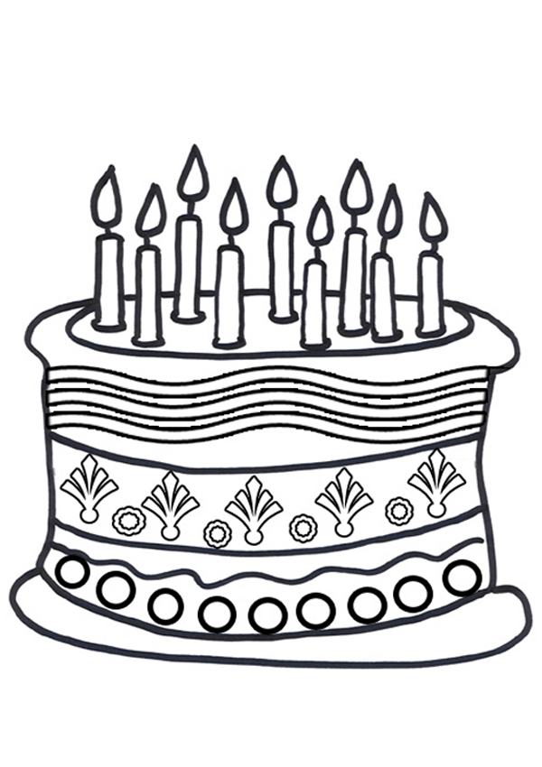 600x850 Free Online Birthday Cake Colouring Page