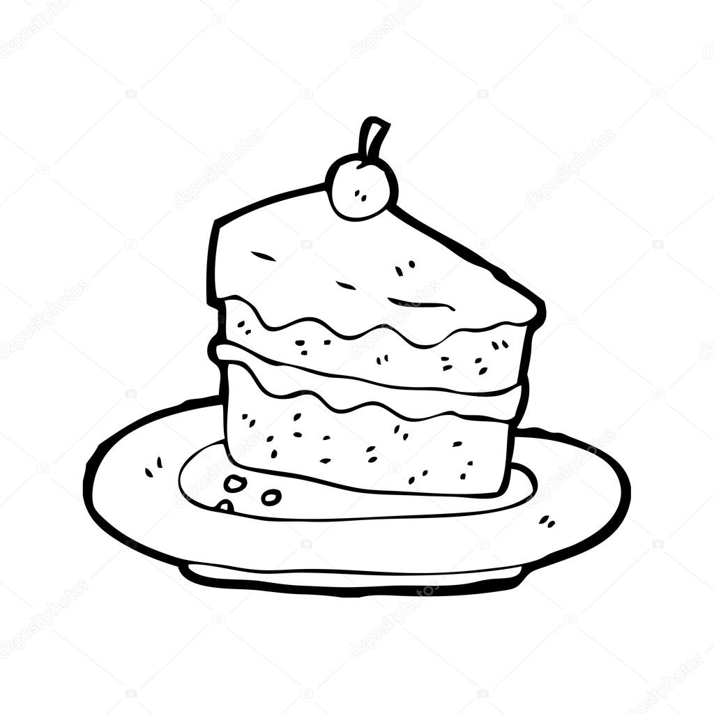 1024x1024 Slice Of Cake On Plate Stock Vector Lineartestpilot