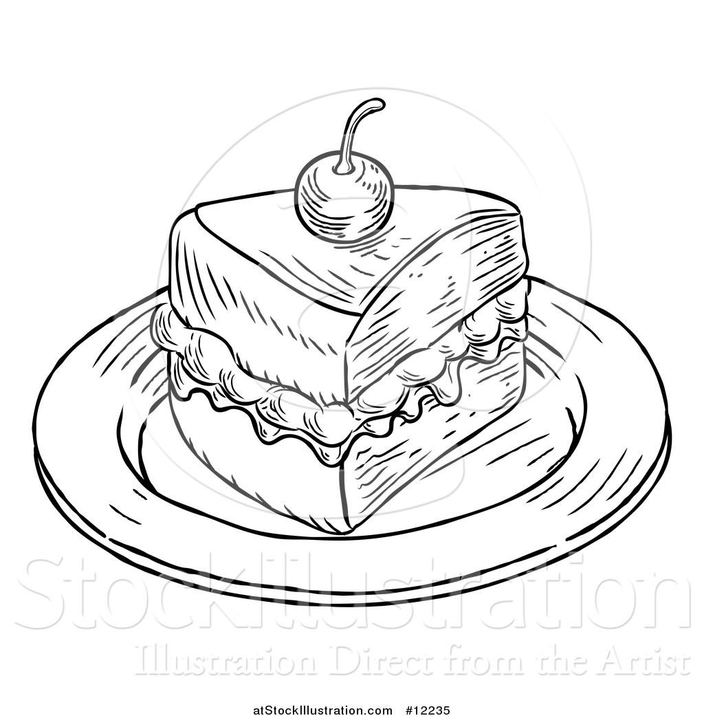 1024x1044 Vector Illustration Of A Piece Of Victoria Sponge Cake In Black