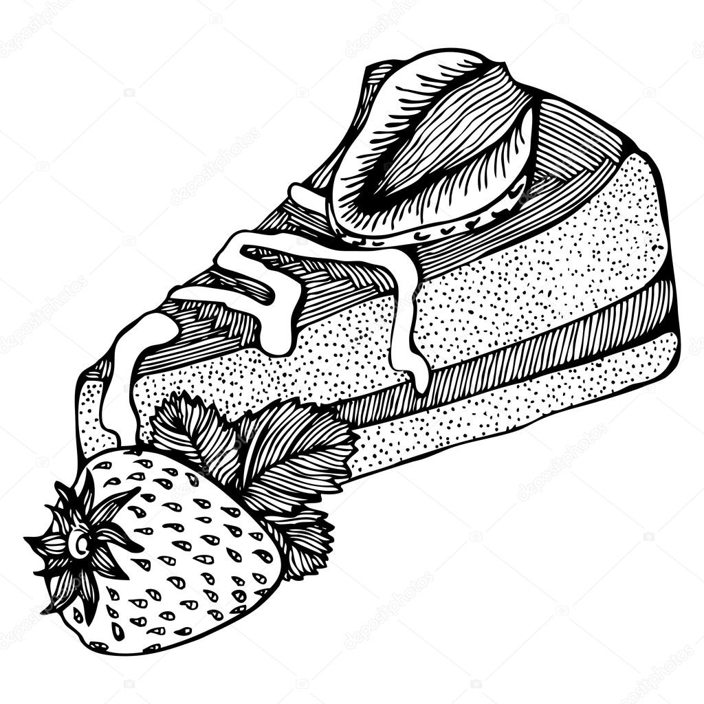 1024x1024 Piece Of Cake With Strawberries Monochrome Drawing Stock Vector