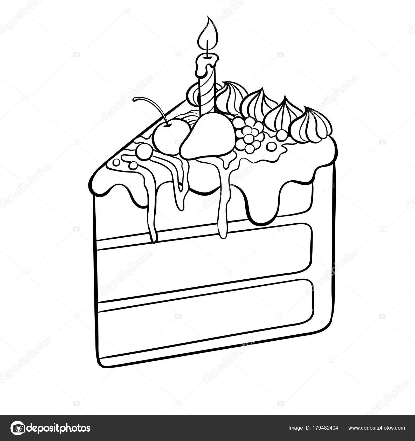 1600x1700 Cake With Candle Coloring Book Vector Illustration Stock Vector