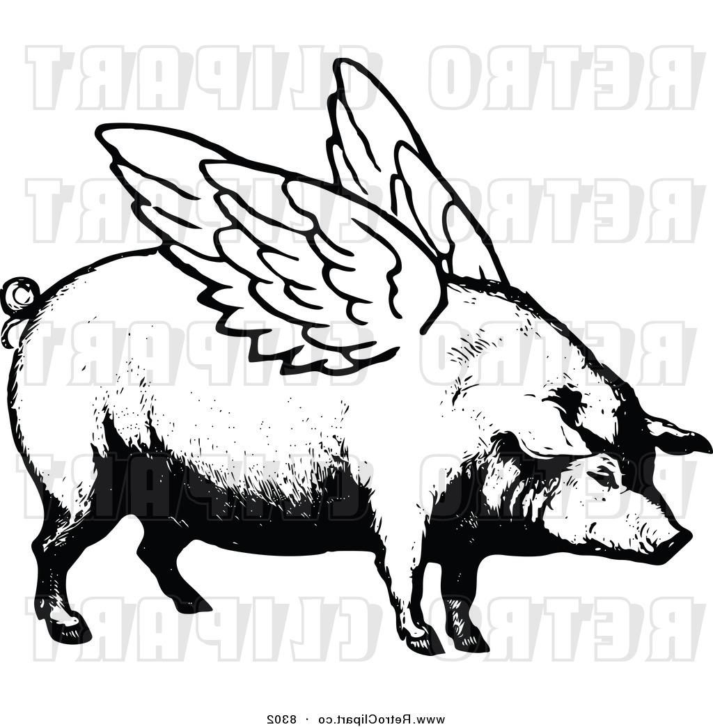 1024x1044 Hd Vector Clipart Of Retro Black And White Winged Pig By Prawny