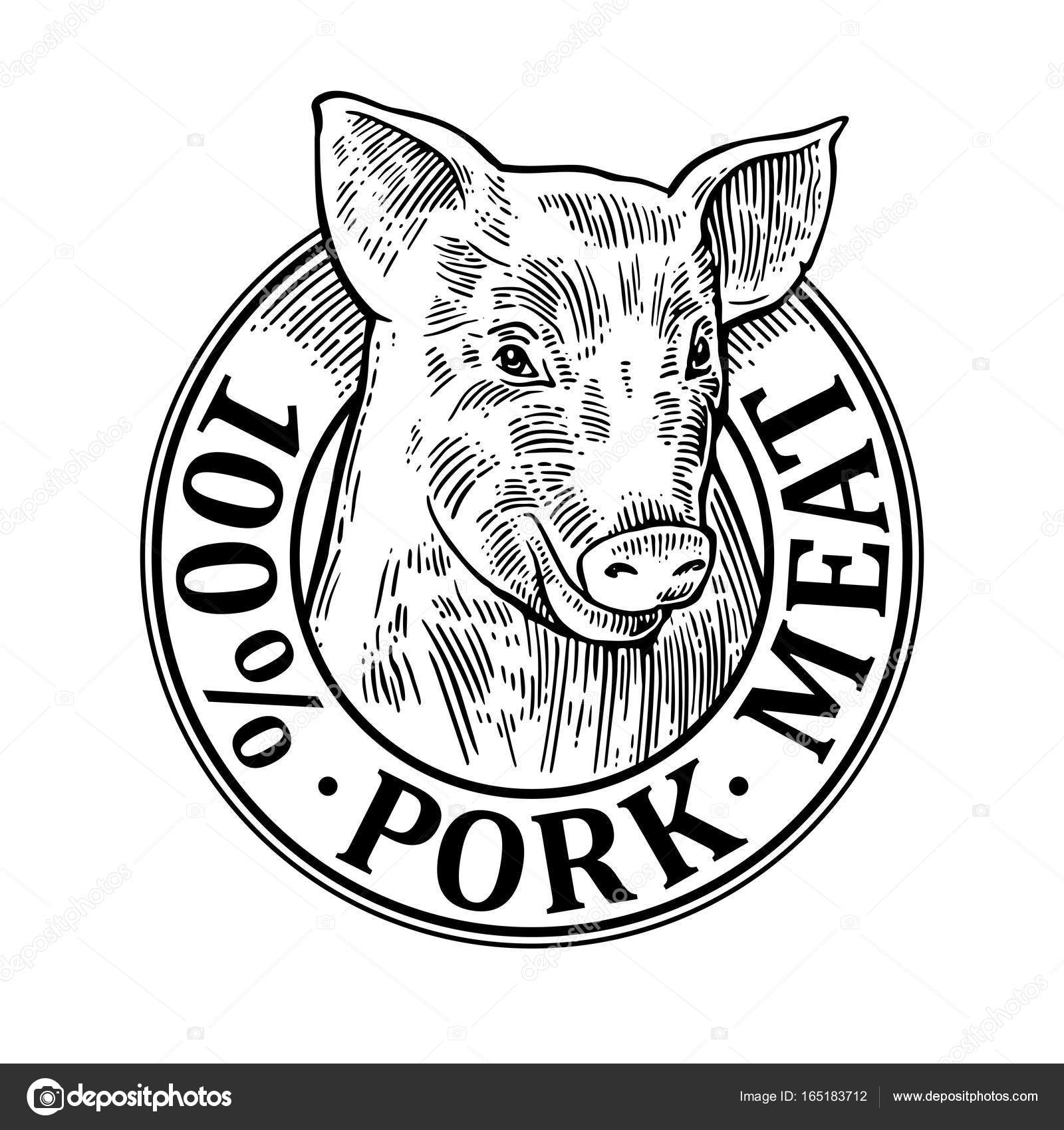 1600x1700 Pig Head. 100 Percent Pork Meat Lettering. Vintage Vector