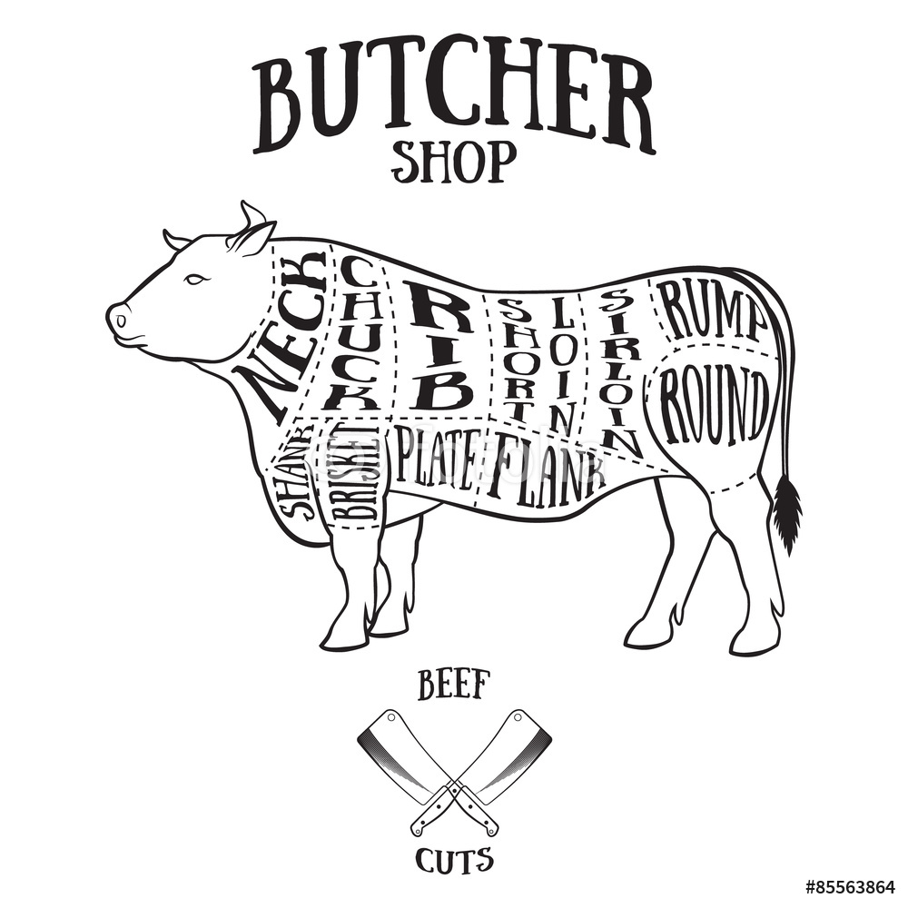 1000x1000 Butcher Cuts Scheme Of Beef Wall Sticker Wall Stickers