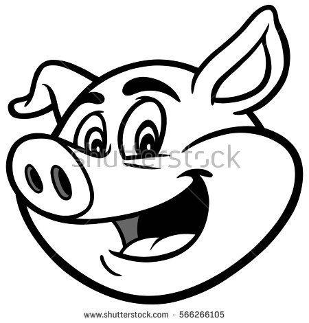 450x470 Awesome Cartoon Pig Outline