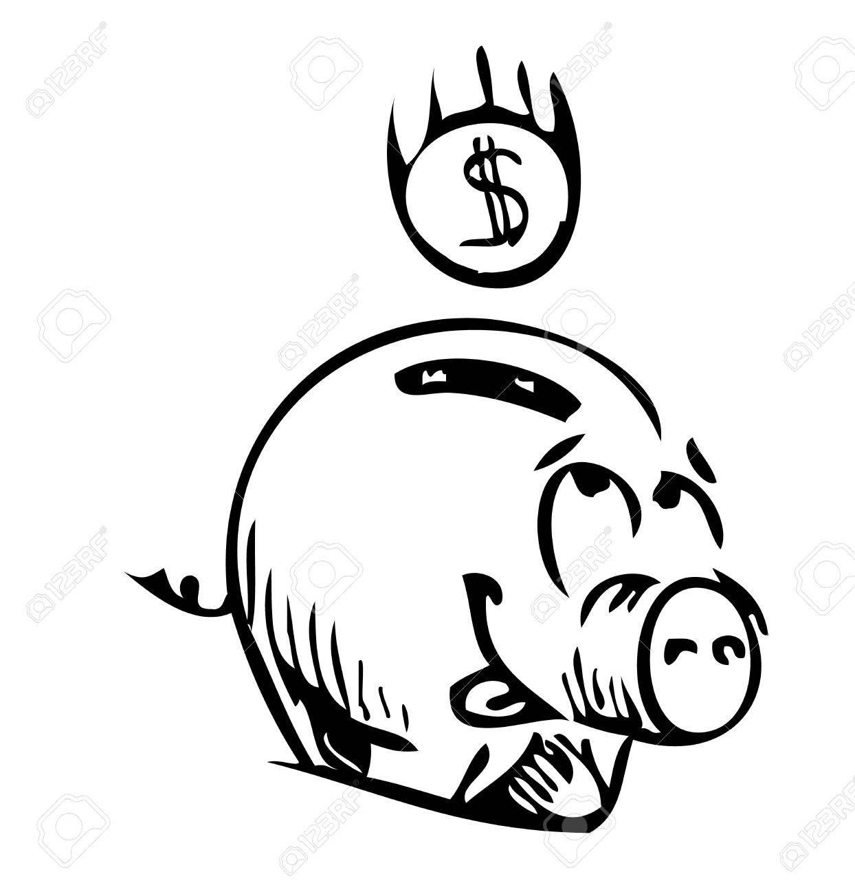1244x1300 Money Cartoon Pig Money Box Sketch Icon Royalty Free Cliparts