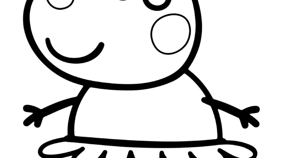 570x320 Peppa Pig Line Drawing Peppa Pig Cartoon Coloring Pages For Kids