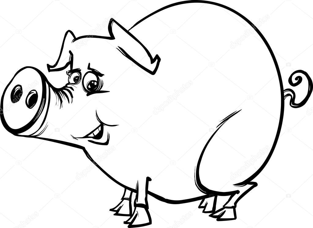 1023x747 Farm Pig Cartoon Coloring Page Stock Vector Izakowski