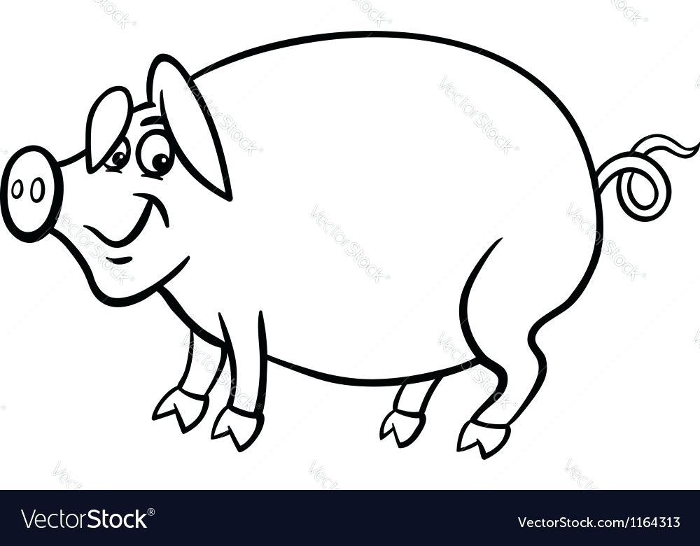 1000x780 Coloring Book Pig Also Farm Pig Cartoon For Coloring Book Vector