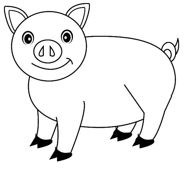 600x555 Pig Coloring Pages Free Printable For Kids