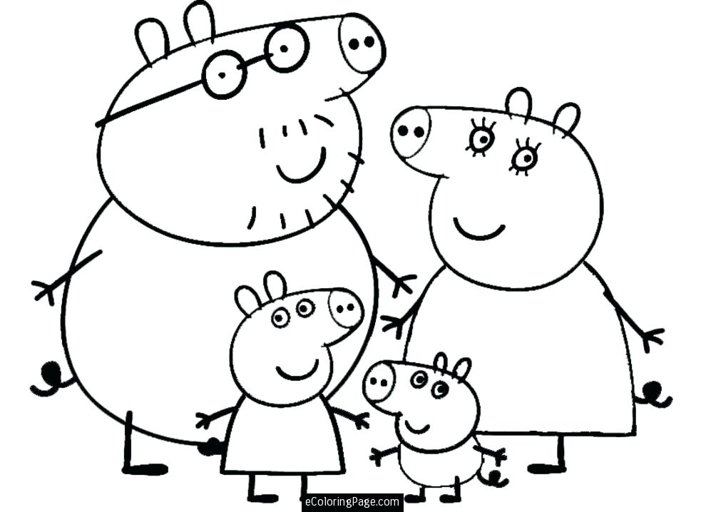 990x718 Coloring Page Of A Pig Pig And Family Coloring Page For Kids