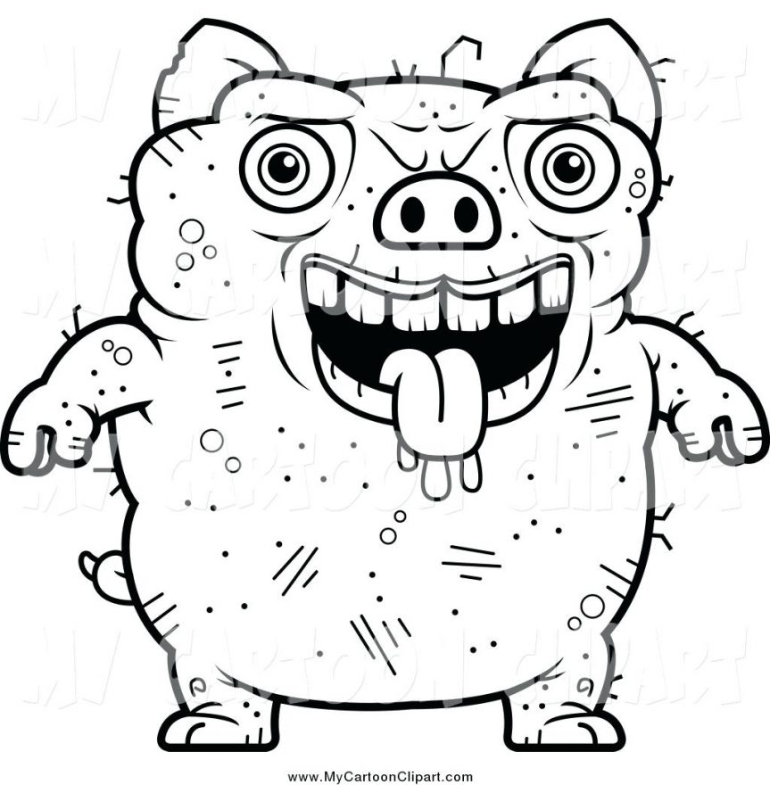 863x880 Clip Art Of A Black And White Ugly Pig Pigeon Outline Sketch Wood