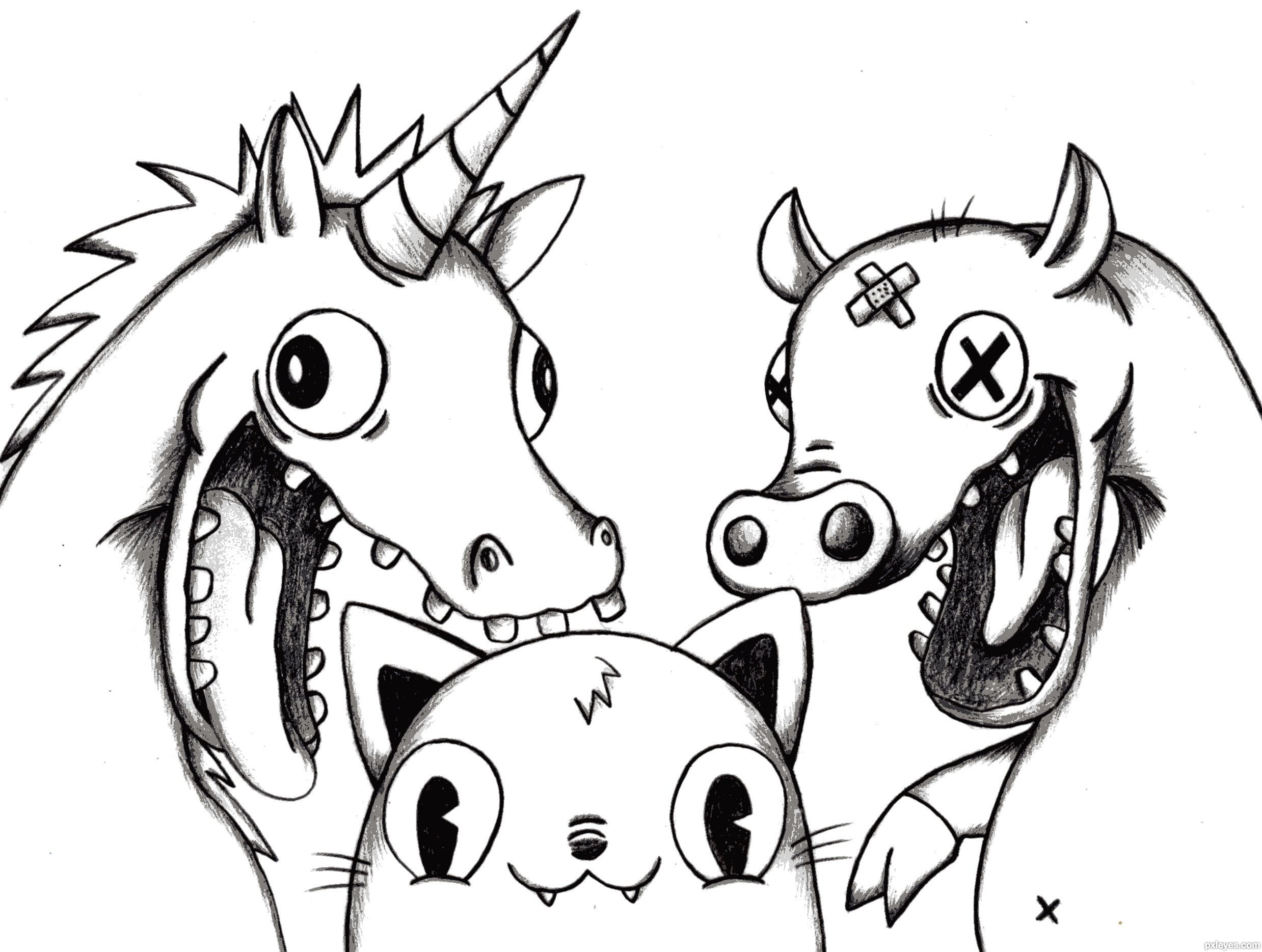 2477x1869 The Unicorn, Pig, And Cat Picture, By Sahyamonster For Smile