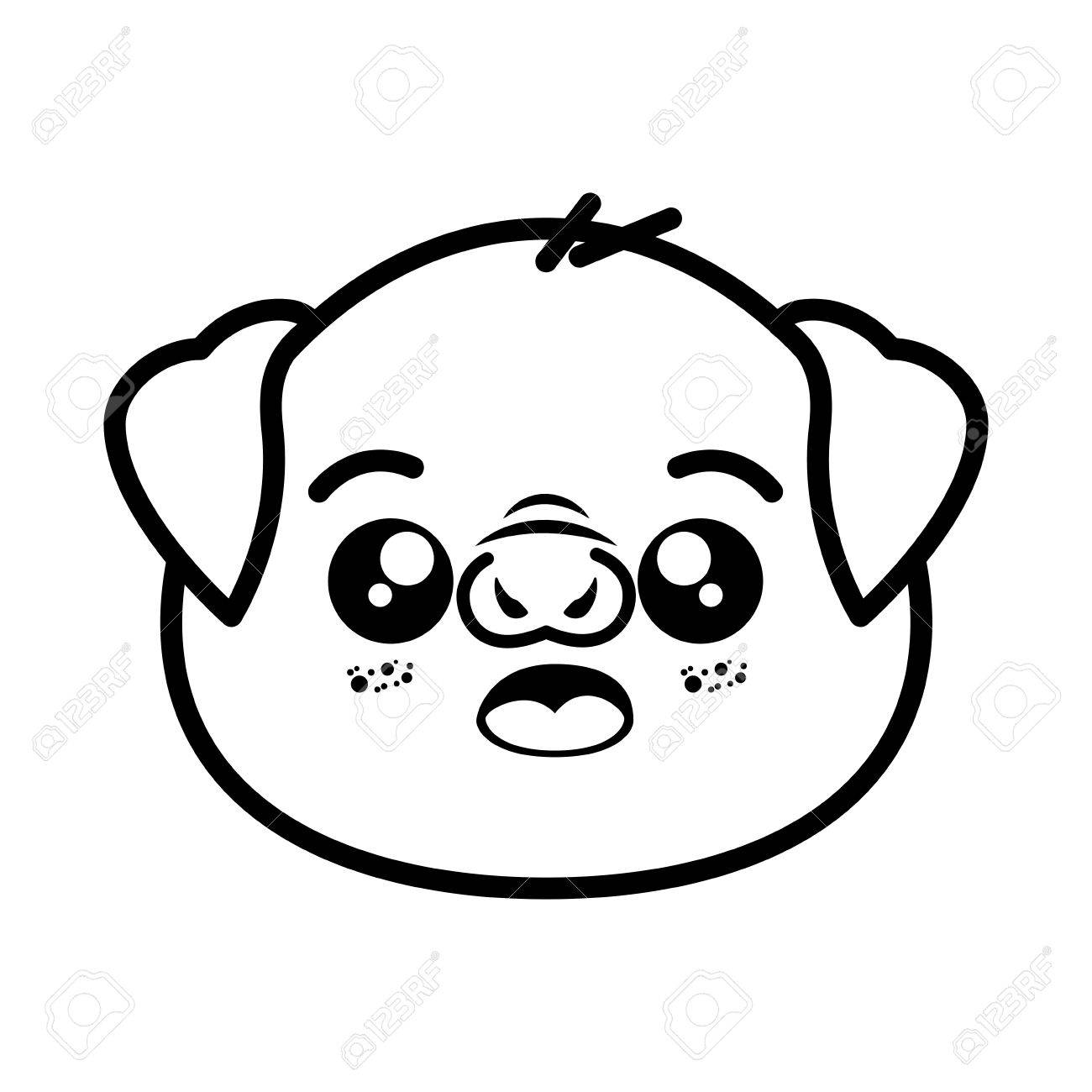 1300x1300 Isolated Cute Pig Face Icon Vector Illustration Graphic Design