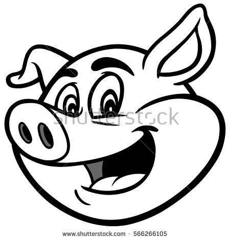 450x470 Pig Face Clipart Black And White
