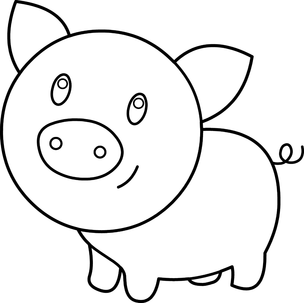 1024x1020 Pig Face Coloring Page