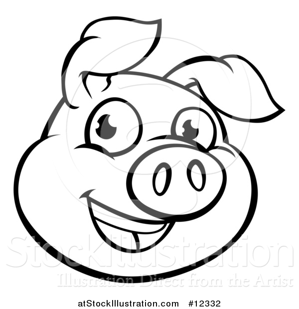 600x620 Vector Illustration Of A Black And White Happy Pig Face By