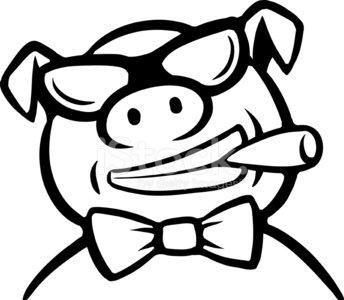 344x300 Whiteboard Drawing Cartoon Pig Boss With Cigar Premium Clipart