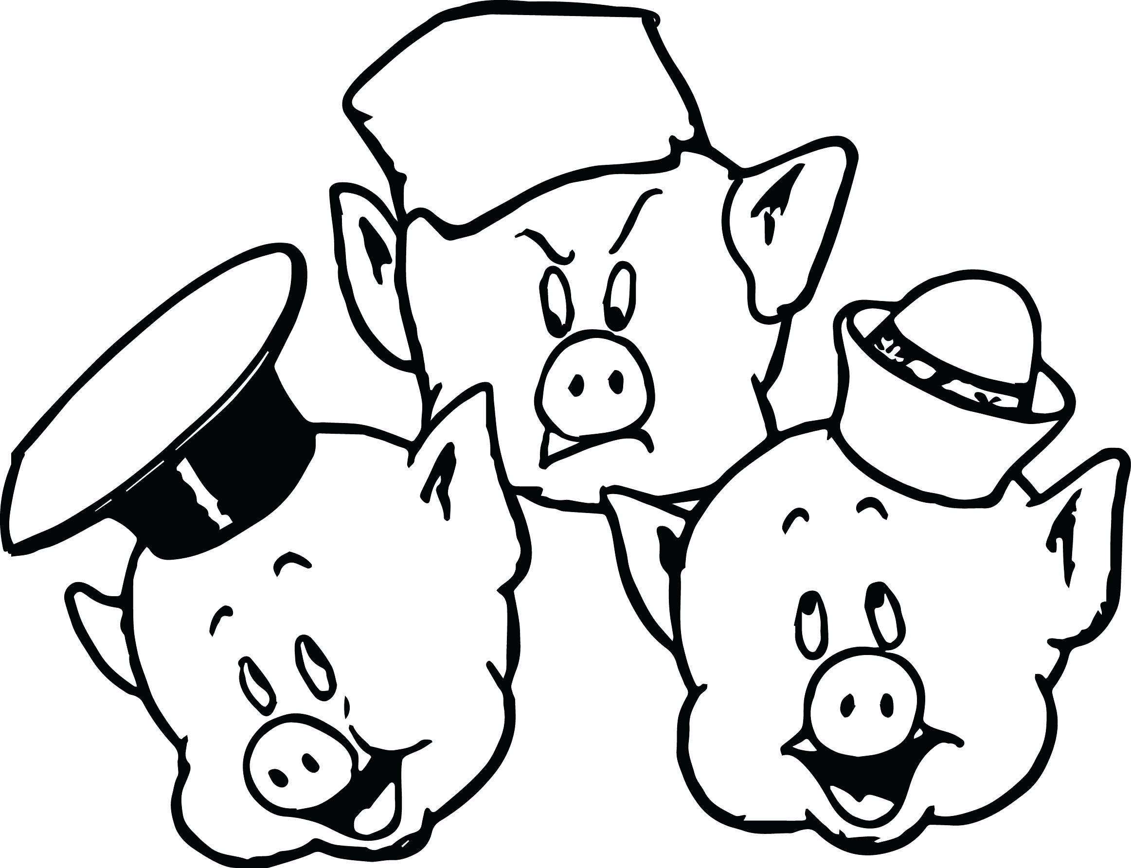 2325x1785 Coloring Printable Pig Pages Sheet 3 Little Pigs Cartoon