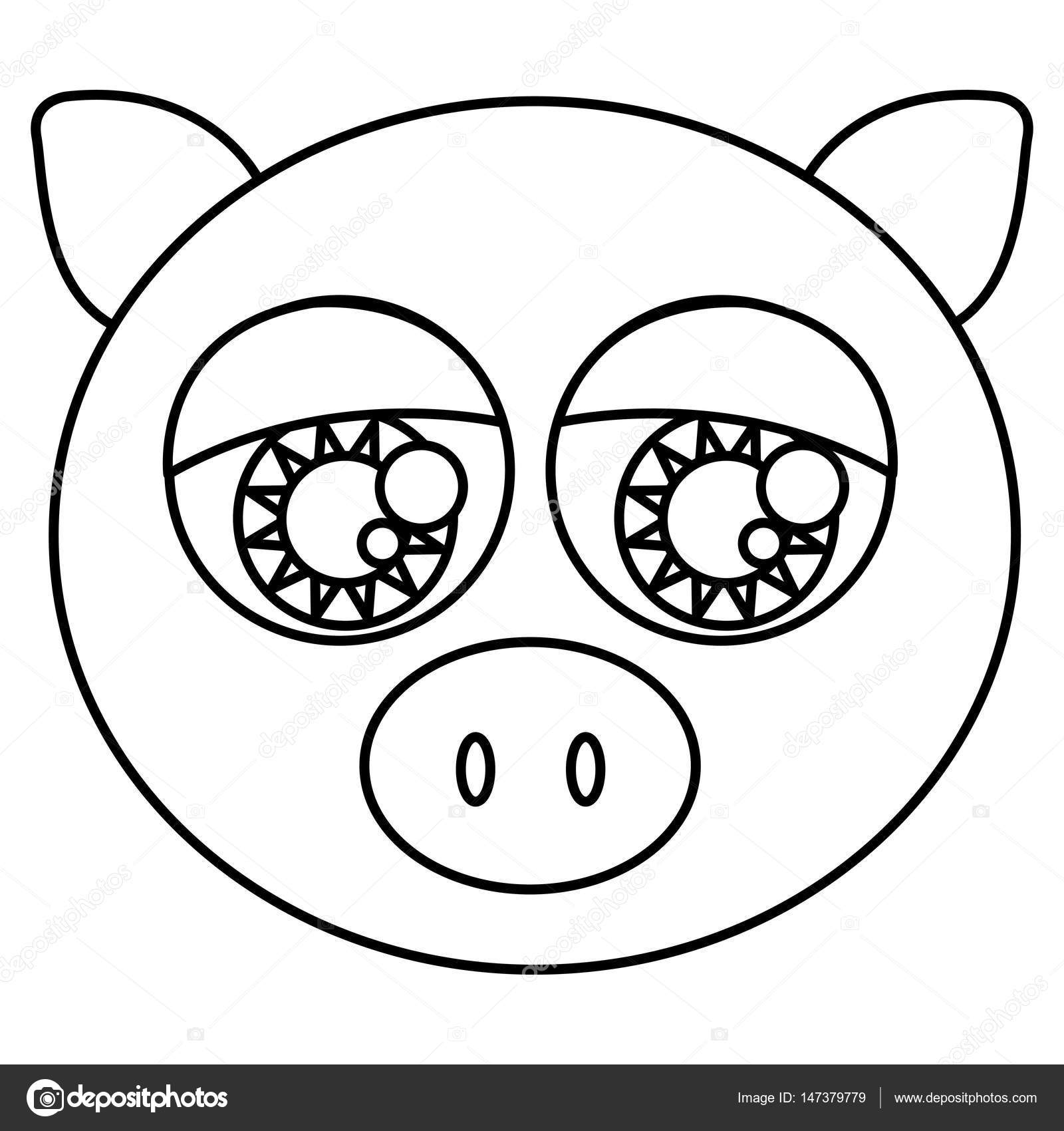 1600x1700 Sketch Silhouette Face Cute Pig Animal With Big Eyes Stock