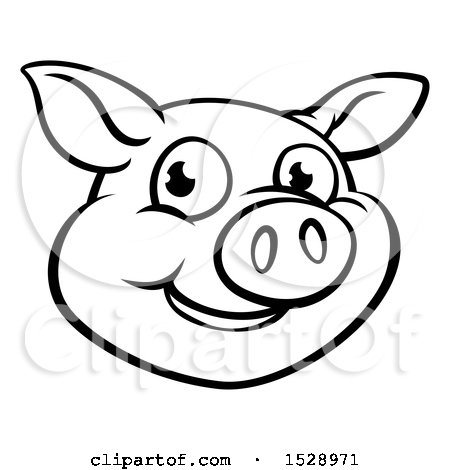 450x470 Clipart Of A Black And White Happy Pig Face