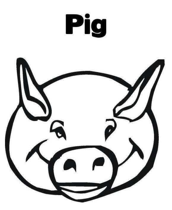 580x705 Pig Coloring Pages Pig Free Alphabet Coloring Pages. Pig Head