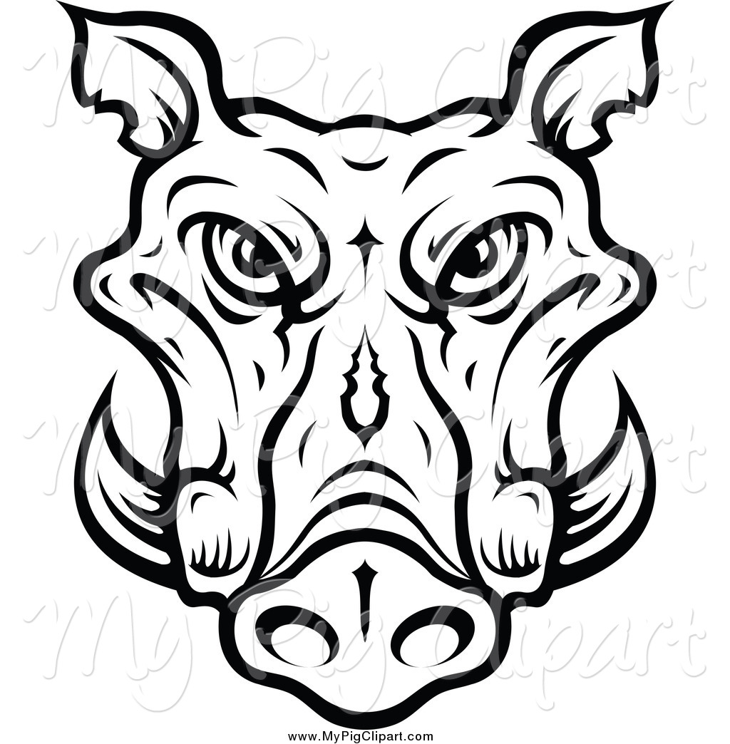 1024x1044 Swine Clipart Of A Lineart Tusked Boar Head By Vector Tradition Sm