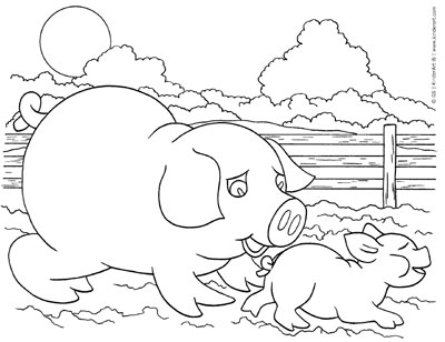 400x308 Pig And Piglet Coloring Page Kinderart