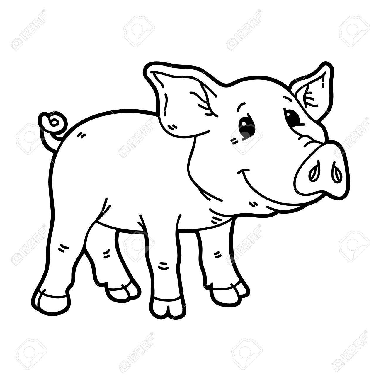 1300x1300 Cute Piggy. Vector Illustration Of Outline Cartoon Little Pig