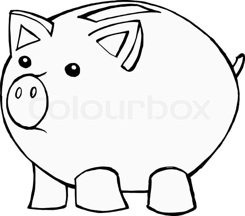 800x707 Hand Drawn, Cartoon, Vector Illustration Of Piggy Bank Stock