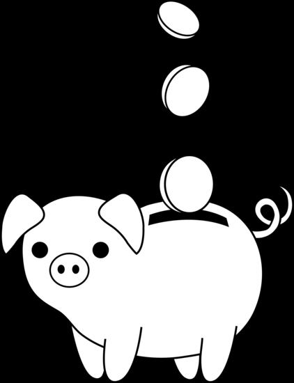 422x550 Piggy Bank Colorable Line Art