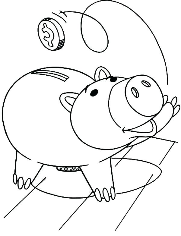 600x783 Piggy Bank Coloring Page The Piggy Bank From Toy Story Coloring