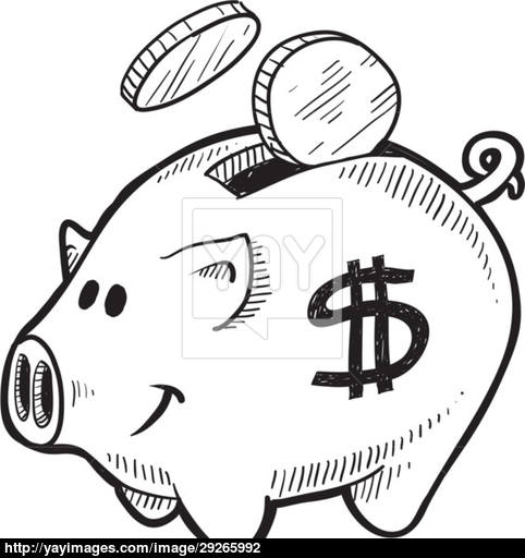 482x512 Piggy Bank Sketch Vector