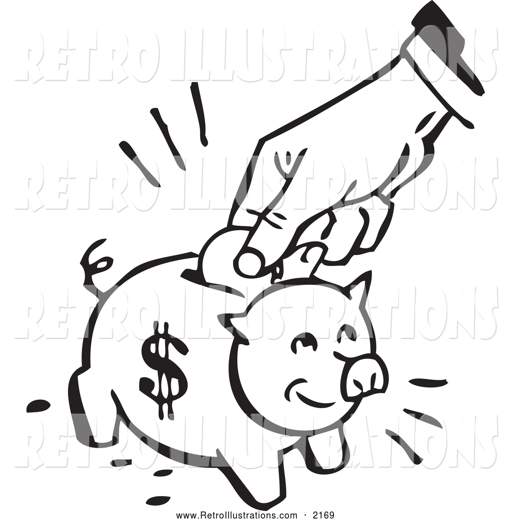1024x1044 Retro Illustration Of Retro Blacknd White Hand Depositing