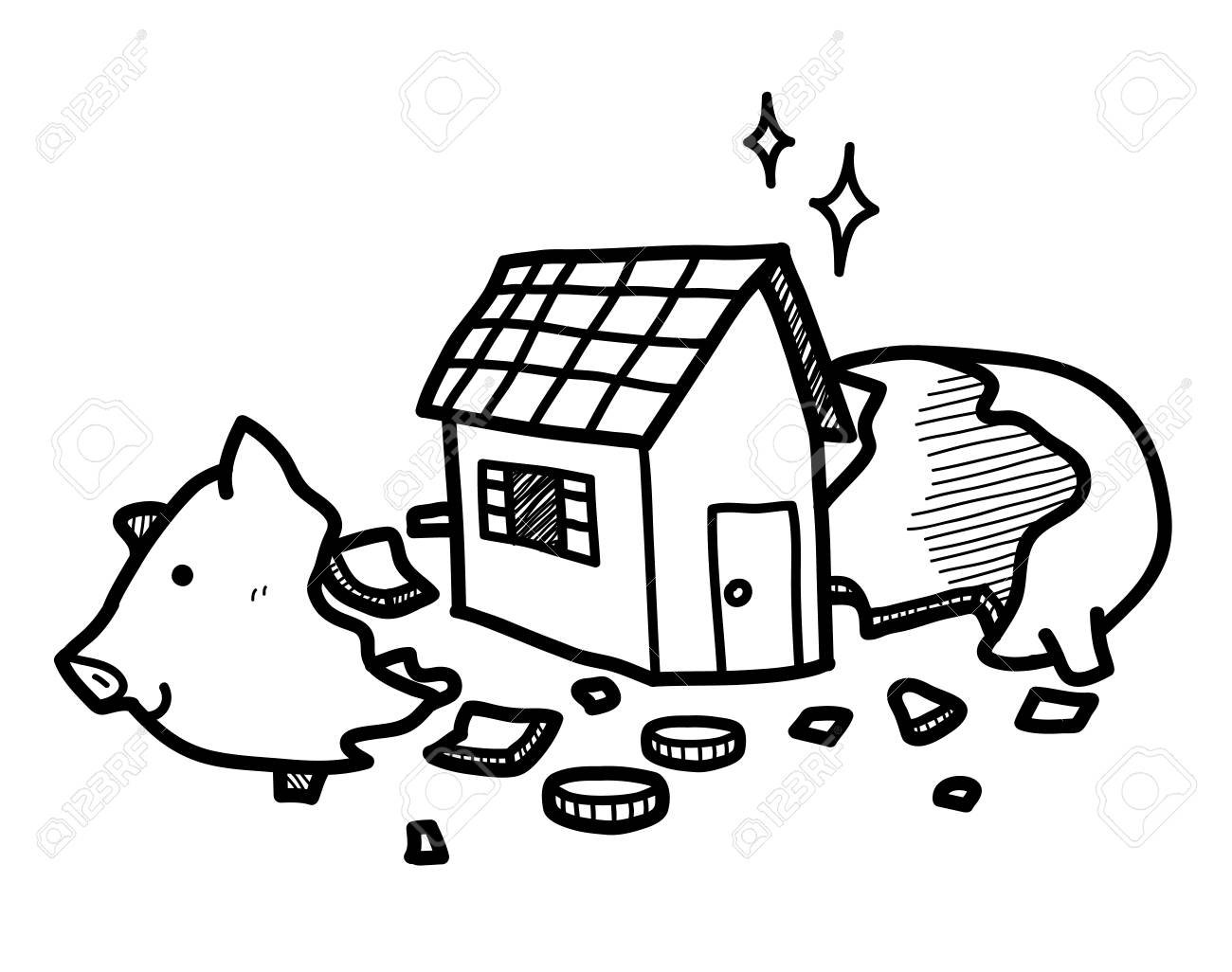 1300x1026 Saving Money For A House In A Piggy Bank, A Hand Drawn Vector