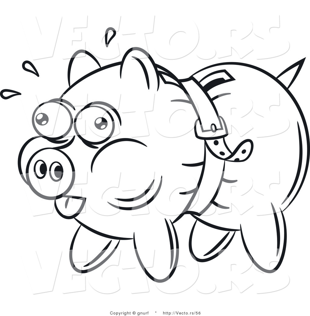 1024x1044 Vector Line Drawing Of A Piggy Bank Being Squeezed Tight By A Belt