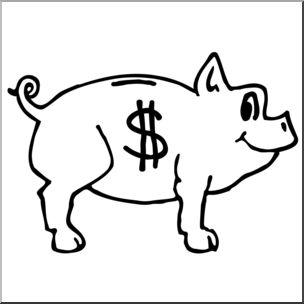 304x304 Clip Art Piggy Bank Bampw I Abcteach