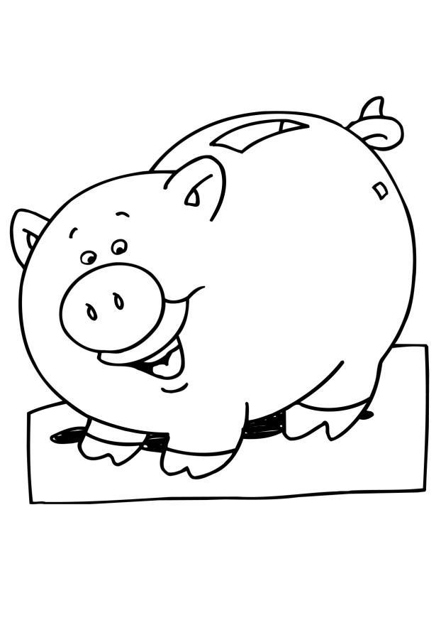 622x880 Coloring Page Piggy Bank