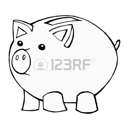 450x450 Hand Drawn, Cartoon, Illustration Of Piggy Bank Royalty Free