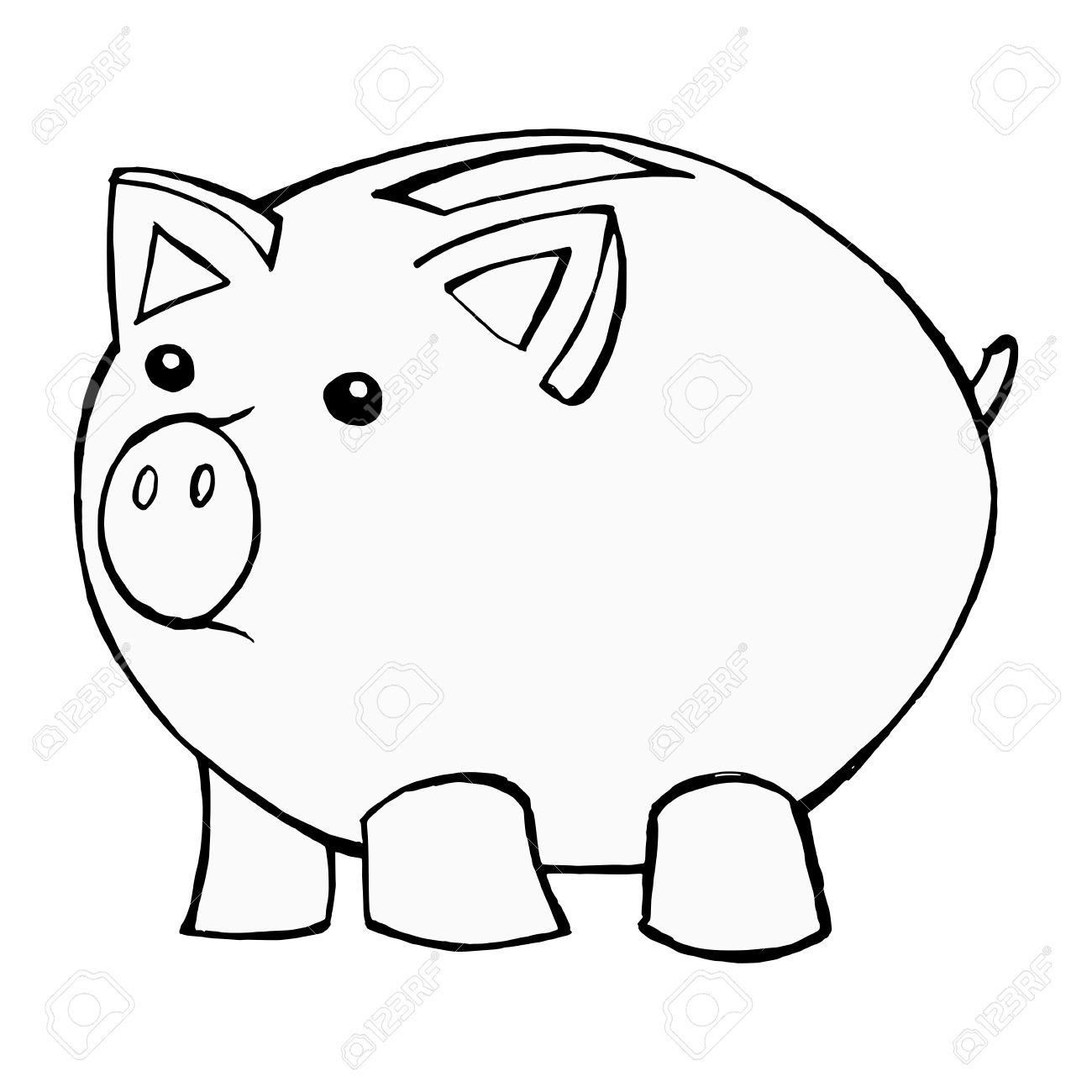 1300x1300 Hand Drawn, Cartoon, Illustration Of Piggy Bank Royalty Free