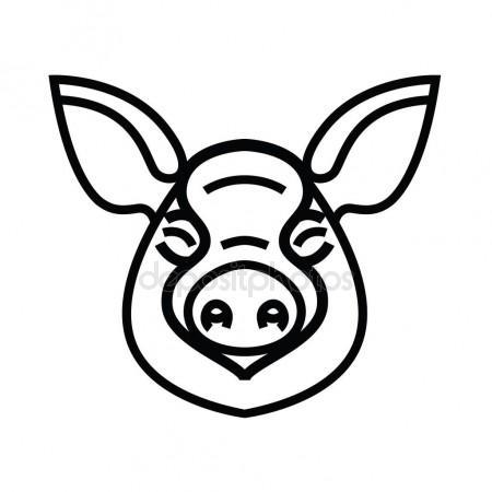 450x450 Linear Stylized Drawing Of Pig Swine Stock Vector Annasuchkova