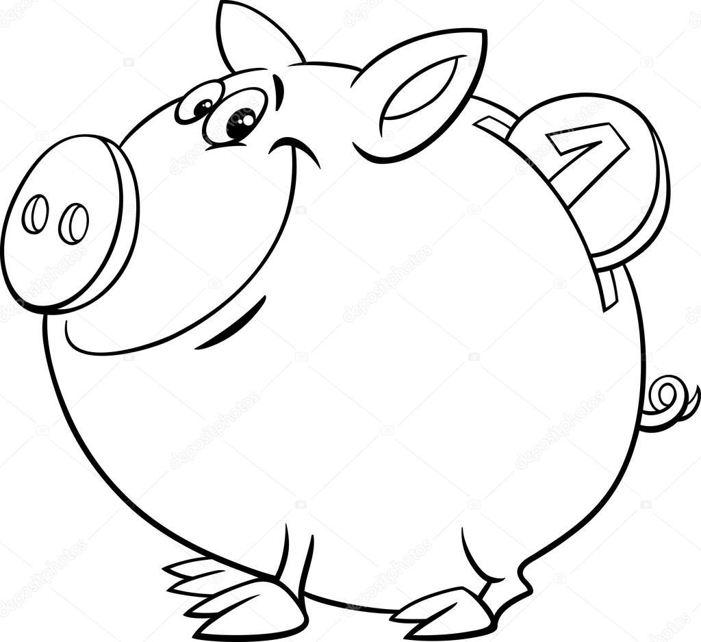 1024x937 Piggy Bank Coloring Page Stock Vector Izakowski