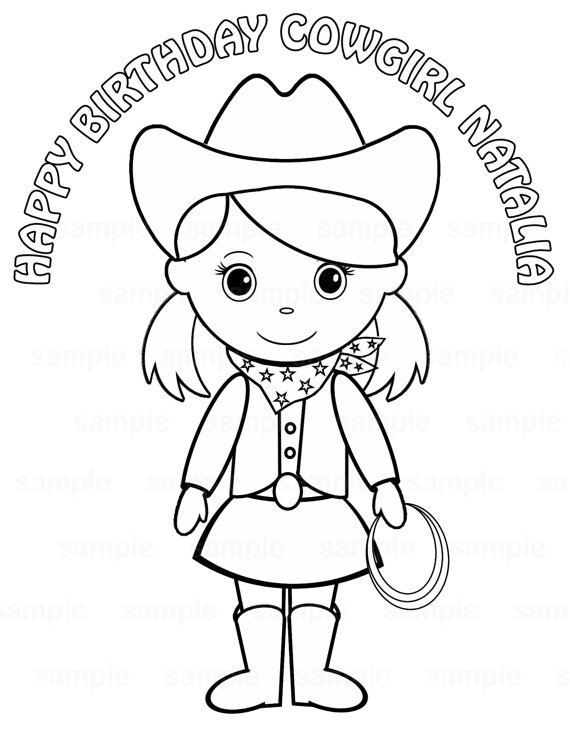570x738 Personalized Printable Cowgirl Pigtails Birthday Party Favor