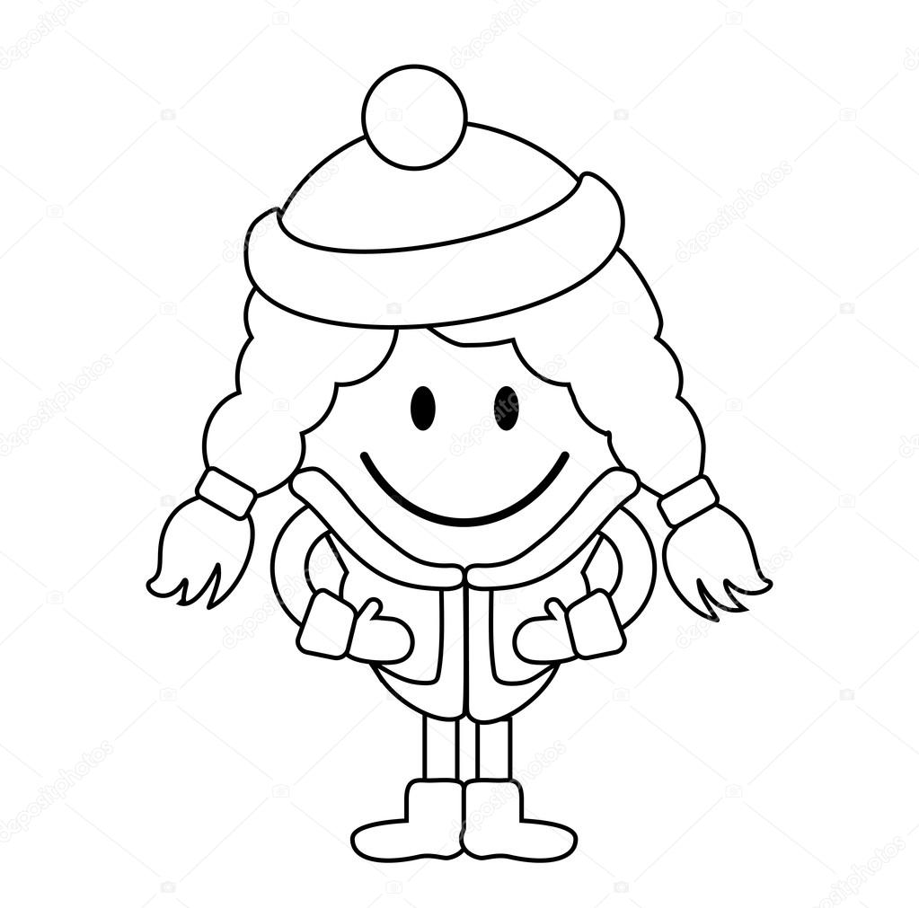 1023x1011 Simple Line Drawing. Cute Little Girl With Pigtail In Winter